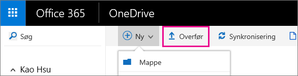 Upload filer til OneDrive for Business.