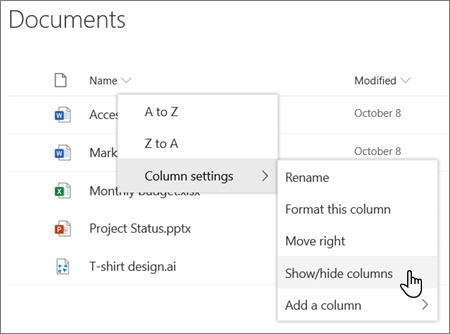 Indstillingen Kolonneindstillinger > Vis/Skjul kolonner, når en kolonneoverskrift er valgt på en moderne SharePoint-liste eller et moderne bibliotek