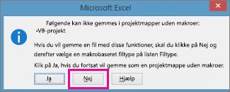 Projektmappe indeholder makroer eller VBA-kode