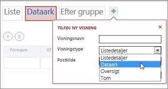 Tilføje en ekstra dataarkvisning i en tabel