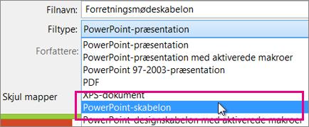 Gemme som en PowerPoint-skabelon