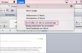 Skærmbillede af Office til mac-menu