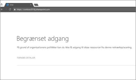 Meddelelse om begrænset adgang i browser