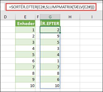Brug SORTER.EFTER sammen med SLUMPMATRIX og TÆLV. I dette tilfælde refererer E2# til det hele det område, der begynder i celle E2, da det blev udfyldt ved hjælp af =SEKVENS(10). Tegnet # kaldes for operatoren for overløbsområde.
