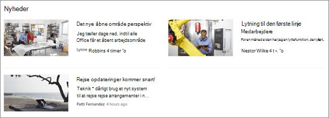 Screencap af nyheds-webdelen på et SharePoint-websted, hvor indlæg er blevet filtreret