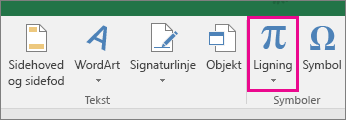 Knappen Ligning på båndet i Excel 2016