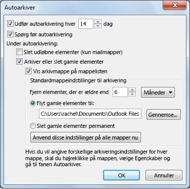 Dialogboksen med indstillinger for Autoarkivér