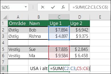 Brug af SUM med ikke-sammenhængende områder.  Formlen for celle C8 er =SUM(C2:C3,C5:C6). Du kan også bruge navngivne områder, og så ville formlen være =SUM(Uge1,Uge2).