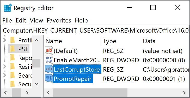 """Indstillinger til sletning i registreringsdatabasen  """"LastCorruptStore"""" """"PromptRepair""""=dword:00000001"""
