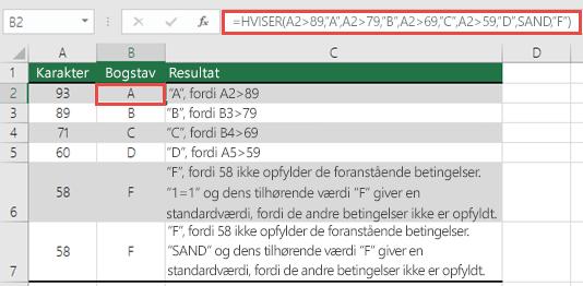 """HVISER-funktionen - karakter-eksempel.  Formlen i celle B2 er =HVISER(A2>89;""""A"""";A2>79;""""B"""";A2>69;""""C"""";A2>59;""""D"""";SAND;""""F"""")"""