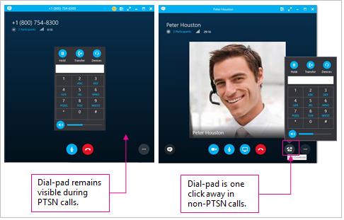 Sammenligning af opkaldsindstillinger i PTSN- og ikke-PTSN-opkald