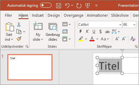 Formatér tekst i PowerPoint