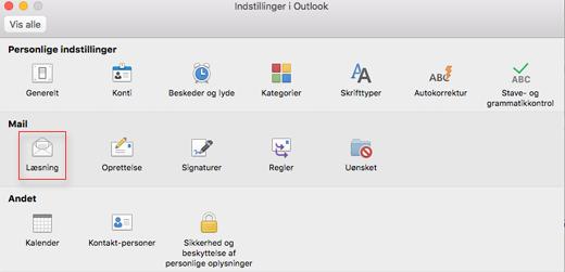 Viser indstillinger i Outlook med læseruden valgt