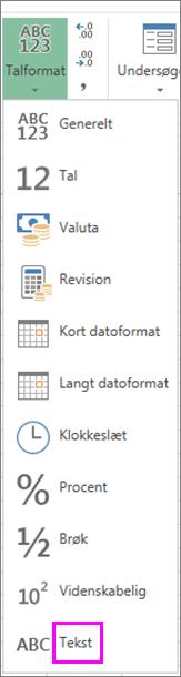 Tekstformat for tal