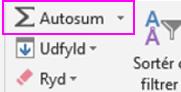 Klik på Autosum i gruppen Redigering for at lægge tal sammen