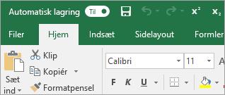 Værktøjslinjen Hurtig adgang, der viser kommandoerne hævet og sænket skrift