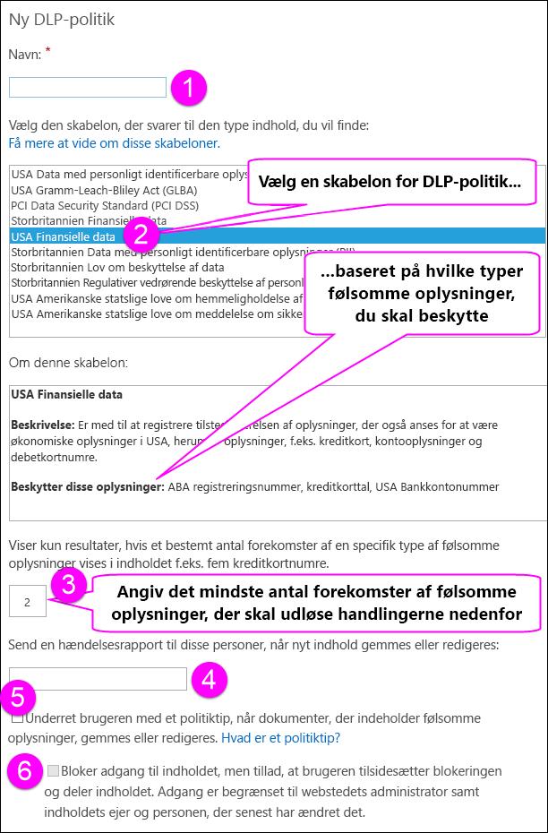 Indstillinger for Ny DLP-politik