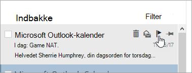 Et skærmbillede af flagindstillingen i meddelelseslisten