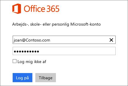 Skærmbillede af log på-ruden til Office 365