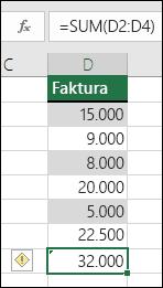 Excel viser en fejl, når en formel springer celler over i et område