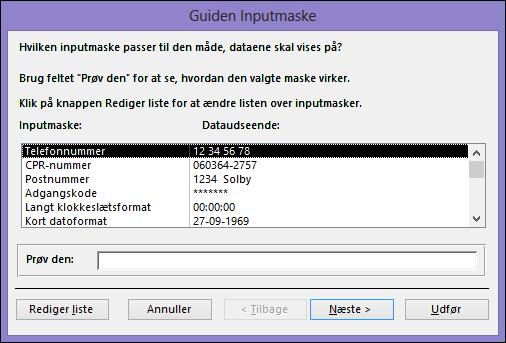 Guiden Inputmaske i Access-skrivebordsdatabase