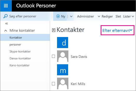 """Skærmbillede af siden Personer i Outlook. Skærmbilledet indeholder en billedforklaring for menuen Filter i den midterste rude. Billedforklaringen viser, at menunavnet nu er sorteret """"Efter efternavn""""."""
