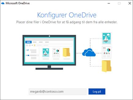 Skærmbilledet til konfiguration af OneDrive
