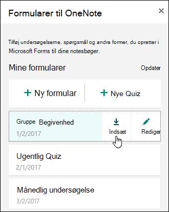 Liste over formularer i formularerne til OneNote til webpanelen
