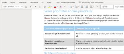 Formatér tekst i Word Online