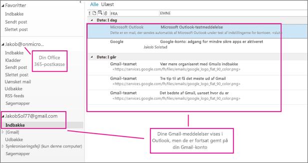 Når du har tilføjet din Gmail-konto, får du vist to konti i Outlook