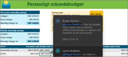 Budgetregneark med en samtaletråd mellem to samarbejdspartnere