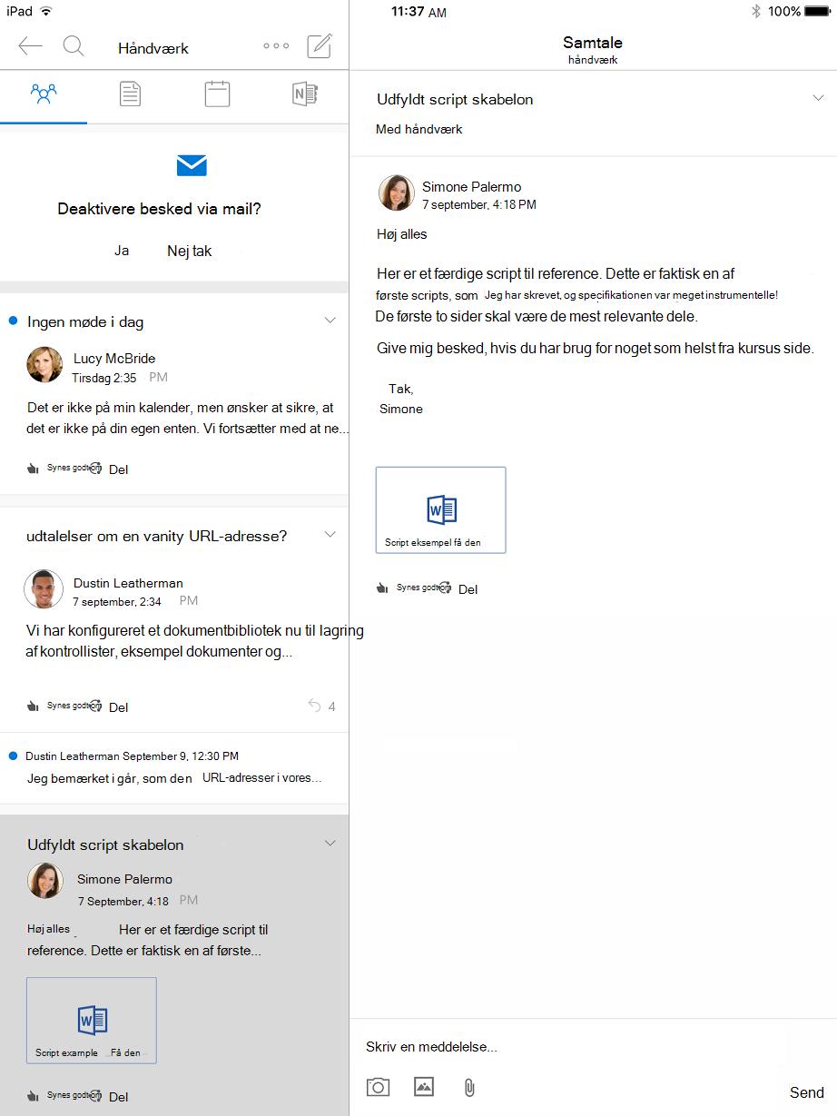 Samtalevisning i grupper i Outlook til iPad