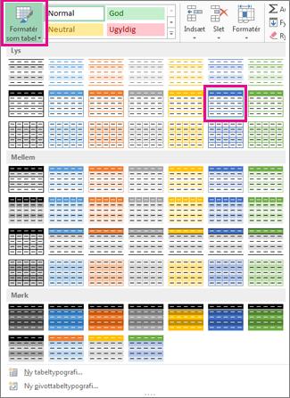 Galleriet Formatér som tabel