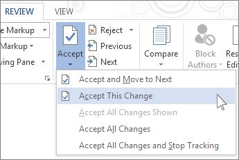 Accepter denne ændring i menuen Acceptér