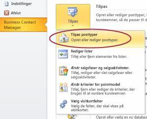 Kommandoen Tilpas Business Contact Manager-posttyper i Backstage-visningen i Outlook