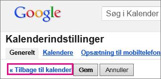 Google Calendar – klik på Tilbage til kalender