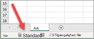 """Statuslinjen i Excel, der viser følsomhedsmærkaten """"Generelt"""" er blevet anvendt"""