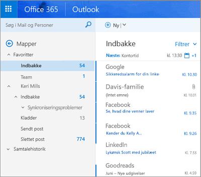 Den primære visning i Outlook på internettet