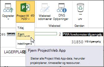 Klik på Project Web App på båndet, og klik derefter på Fjern.