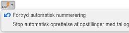 Knappen Autokorrektur med viste indstillinger for automatisk nummerering