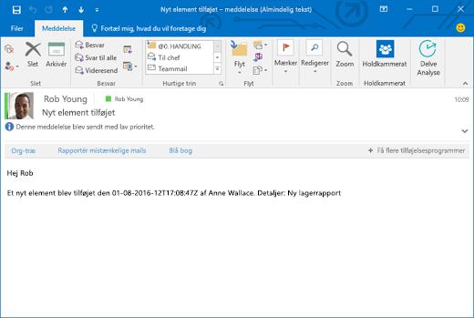 E-mailen, der er modtaget baseret på den proces, der sender en mail, når der føjes et nyt element til en liste.
