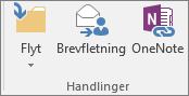 Knappen Brevfletning findes på fanen Hjem i gruppen Handlinger