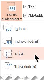 Indsæt pladsholder til et tekstfelt