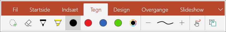 Skærmbillede af fanen Tegning i PowerPoint Mobile til Windows 10