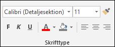Kommandoer, der er tilgængelige i gruppen Access skrifttyper