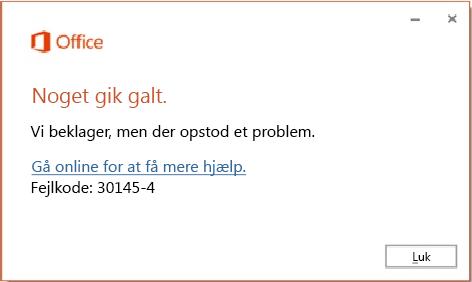 Fejlkode 30174-4 når du installerer Office