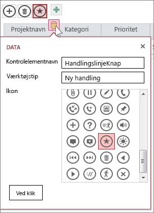 Dialogboksen Data for en brugerdefineret handling på et webdataark
