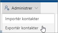 På værktøjslinjen skal du vælge Administrer og derefter vælge Eksportér kontakter.