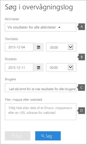 Konfigurer kriterier, og klik derefter på Søg for at køre rapport