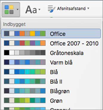 Farve indstillinger, når du klikker på knappen farver